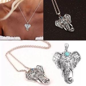 Silver boho tribal gypsy elephant necklace